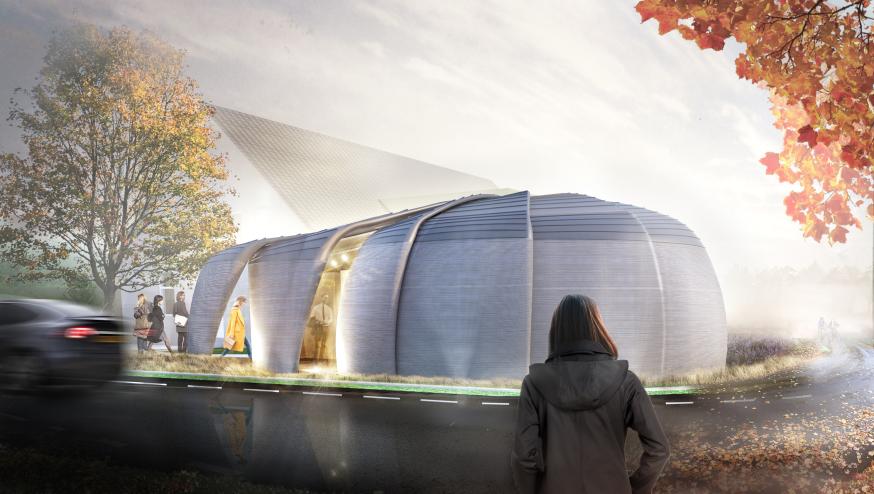 Artist impression 3D-geprinte gebouw Teuge
